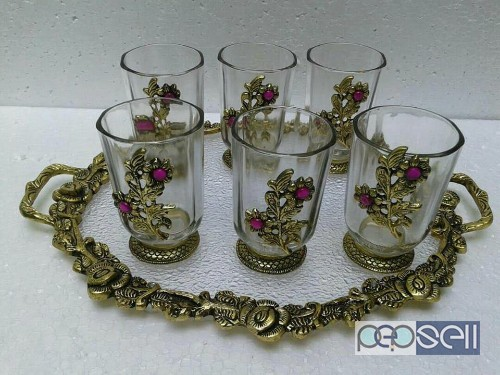Beautiful tray set with 6glasses for sale in noida 0
