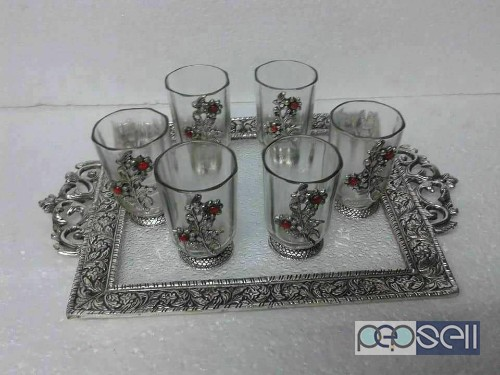 Beautiful tray set with 6glasses for sale in noida 1