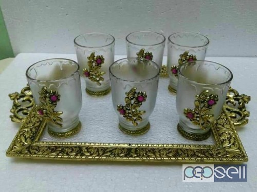 Beautiful tray set with 6glasses for sale in noida 2