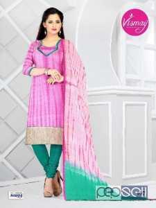 Buy Vismay  Shibori Printed Plum And Light Sea Green Churidar Material In Silk online at 10% discount