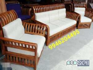 Brown Wooden Framed White Padded 3-piece Couch set for sale at Kottayam
