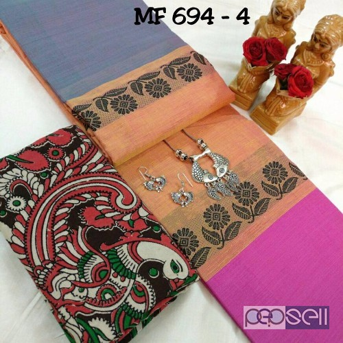 72a6b2142f MF-694 brand chettinad cotton saree with kalamkari blouse at wholesale price-  rs750 each