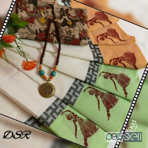 727e979354 elegant dsr chettinad cotton sarees with printed and traditional motifs  with running blouse, extra kalamkari