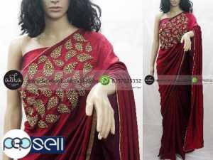 Red Silk Saree with Bead Work