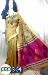 Silk cotton handloom Pallu design and all over small work with blouse piece - Kerala Kochi Ernakulam