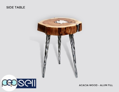 Molten Wood Side Table at Aglow Exports Inc. 0