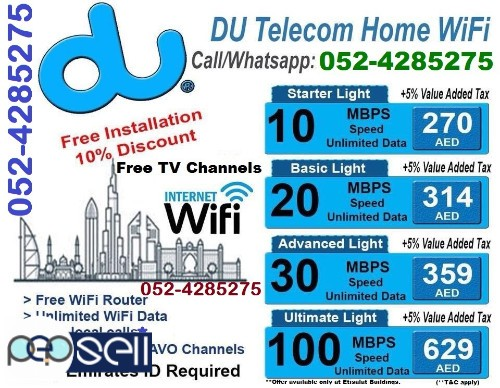 HIGH SPEED DU WIFI HOME INTERNET PACKAGES FREE INSTALLATION