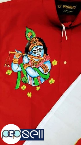 Vishu Special Mural painted Krishna Kurta with Kanikonna Dhothi 1