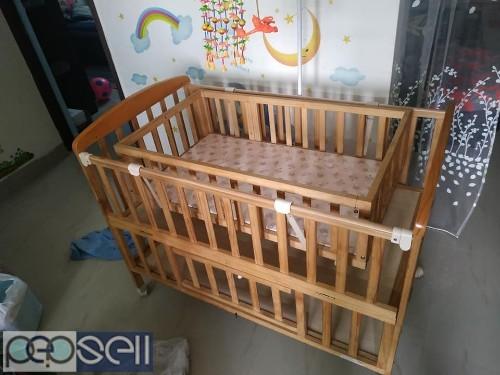 Baby cot with cradle, stroller & walker for sale 0