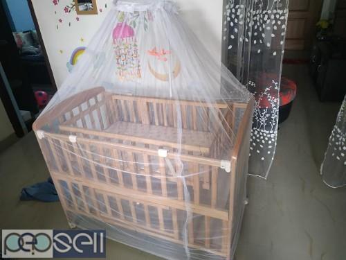 Baby cot with cradle, stroller & walker for sale 2