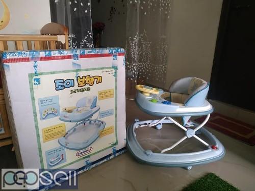 Baby cot with cradle, stroller & walker for sale 4