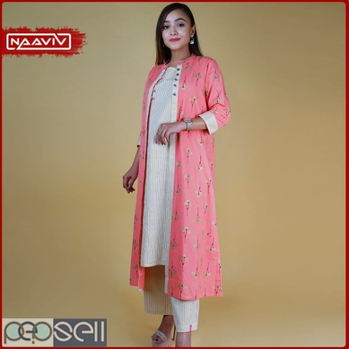Women's Striped Kurta Palazzo Set with Printed Jacket (Peach Color) 0
