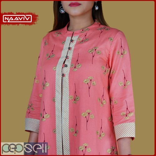 Women's Striped Kurta Palazzo Set with Printed Jacket (Peach Color) 2