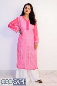 Buy Hand Embroidered Lucknowi Chikan Pink Georgette Kurti