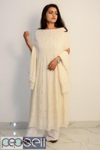 Buy Hand Embroidered Lucknowi Chikan Cream Unstitched Aari Design Kurti 0
